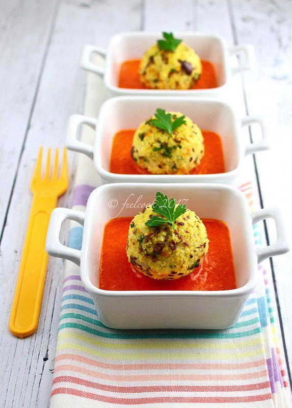 Crocchette di miglio con salsa di peperoni