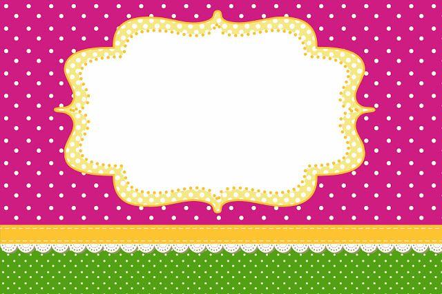 Poá Rosa e Verde – Kit Completo com molduras para convites, rótulos para guloseimas, lembrancinhas e imagens!