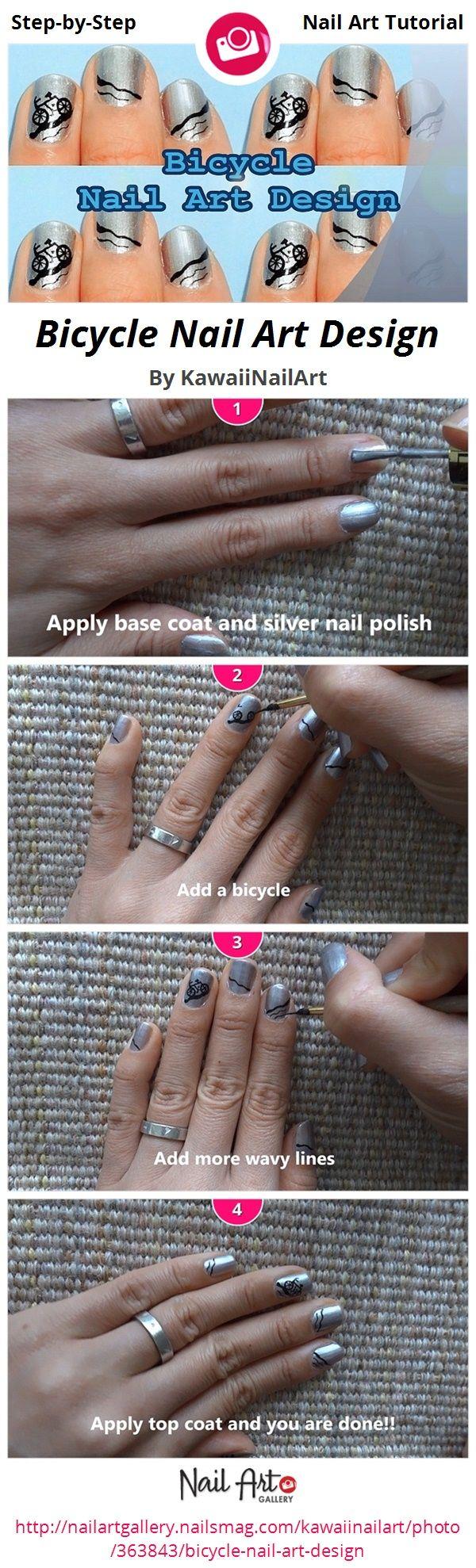 Bicycle Nail Art Design by KawaiiNailArt - Nail Art Gallery Step-by-Step Tutorials nailartgallery.nailsmag.com by Nails Magazine www.nailsmag.com #nailart