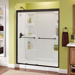 Delta, Crestfield 59-3/8 in. x 70 in. Sliding Bypass Shower Door in Oil Rubbed Bronze with Frameless Clear Glass, 158867 at The Home Depot - Mobile