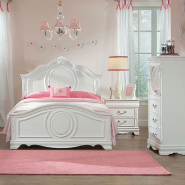 Standard Furniture Jessica 3 Piece Kids Panel Bedroom Set W Lingerie In White