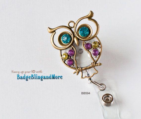 RETRACTABLE /Swivel Reel/Spring Clip - Cute OWL in vintage brass, multi colored stones-  nurses/ professionals - Badge Holder BB594