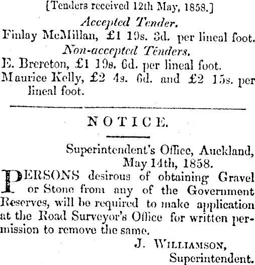 1858 Finlay McMillan Auckland Bridge tender