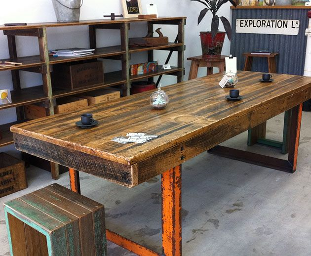 Industrial table recycled timber and steel. Recycled