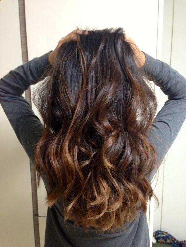 subtle balayage on dark hair