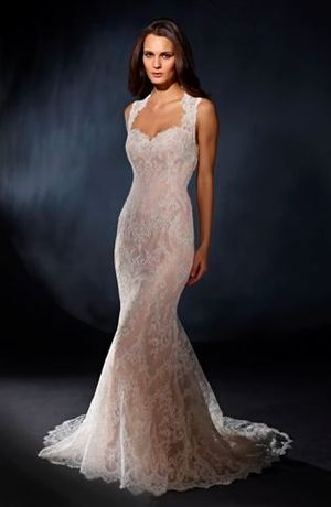 Bridal Gowns: Marisa A-Line Wedding Dress with Sweetheart Neckline and No Waist/Princess Seams Waistline