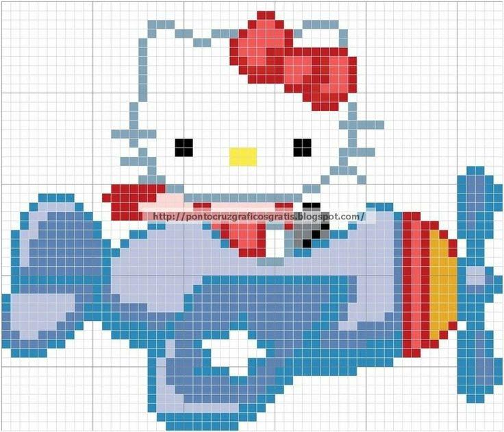 Hello Kitty airplane perler bead pattern
