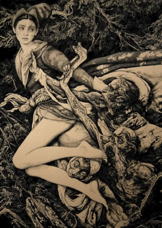 By Vania Zouravliov.  Gothic Death and the Maiden. Death grim reaper Father Time scythe maiden girl woman dance danse macabre skull skeleton