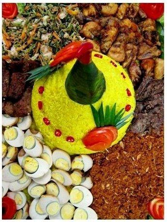 Traditional Nasi kuning Tumpeng Java, Indonesia.