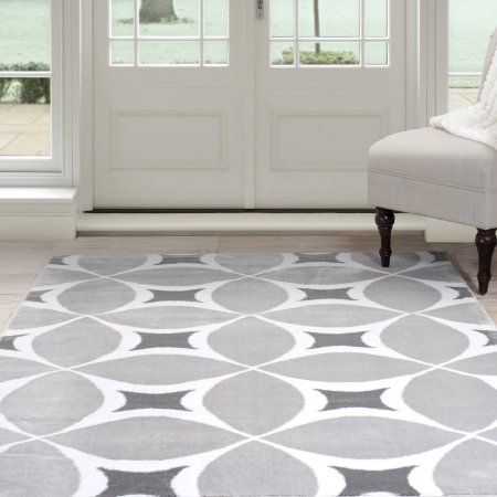 somerset home geometric area rug grey and white