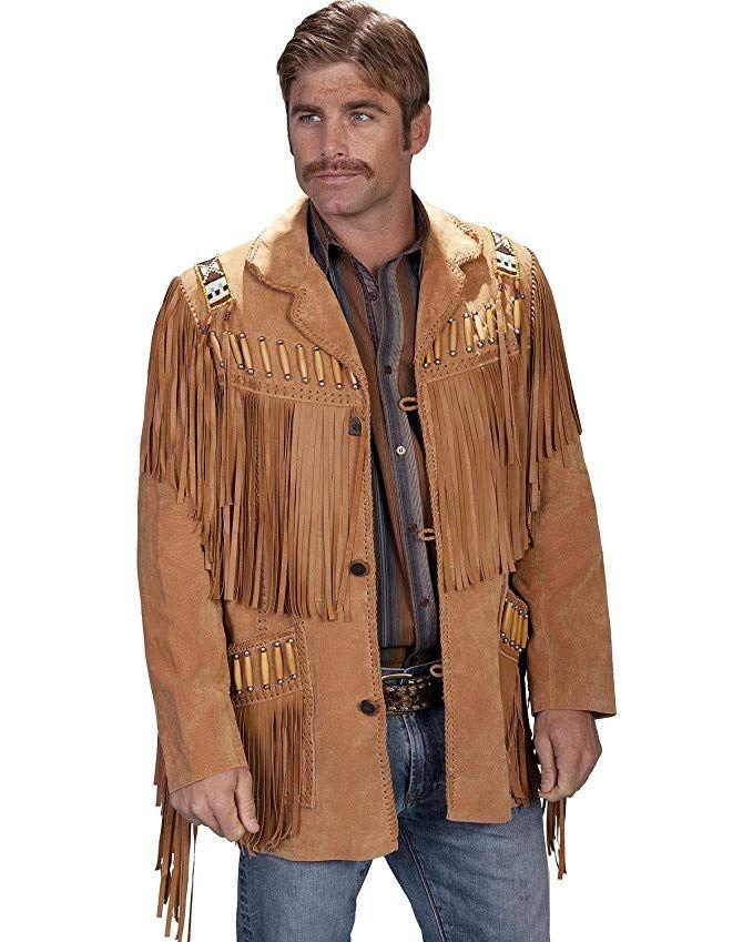 114de79b1f6 Scully Men s Bone Beaded Fringe Leather Jacket - 902-409 Review ...
