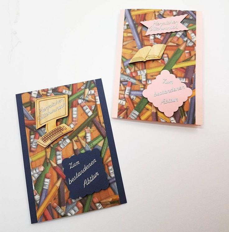 DIY Auftragskarten mit Holzteilchen zum bestandenen Abitur #selberbasteln #Karte #Kartenbasteln