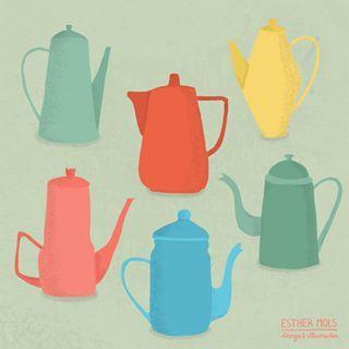 So elegant 💚❤️💙💛 #teapot #coffeepot #coffee #illustration #draweveryday #vintagecollection