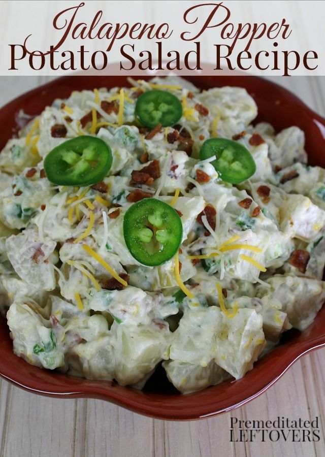 This Jalapeno Popper Potato Salad recipe is made with jalapeno peppers, cream cheese, and bacon. It's a delicious twist on traditional potato salad recipes. Serve it at your next barbecue!