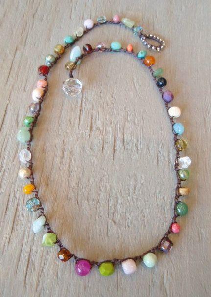 Colorful crochet necklace RainBow Splash Multi by slashKnots, $48.00