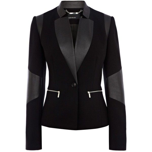 Karen Millen Faux leather jersey blazer found on Polyvore