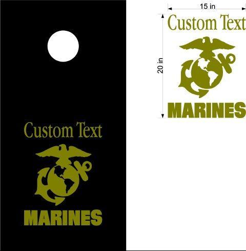 Marines USA Patriotic Cornhole Board Decals Flag Stickers Graphics Wrap Bag Toss Bean Baggo Mar01