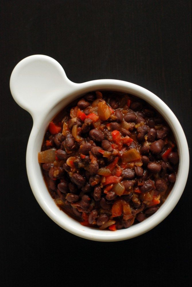 Cuban Beer-Infused Black Beans... Next time maybe some cayenne. I used 5 c cooked beans (2 cups dry) 1 can tomato paste and a full can of fl fat coconut milk and a whole beer. And 3 Ancho Chiles rehydrated.