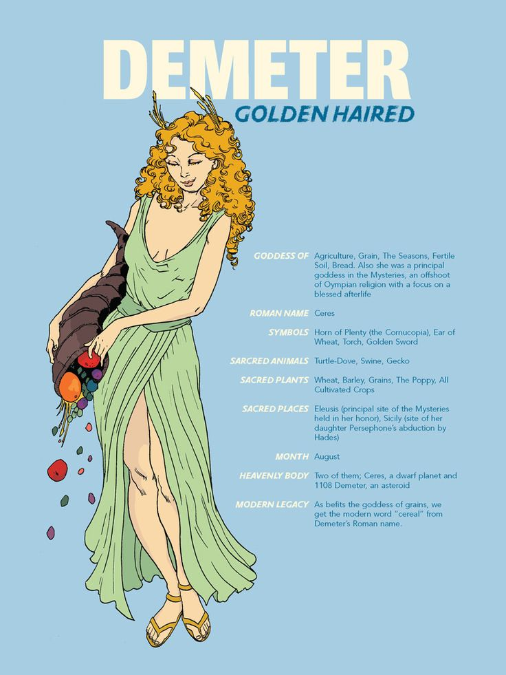 The Greek goddess, Demeter. Total earth mother type like me, which is cool since my name is another one of her epithets and we share the same MBTI personality type!