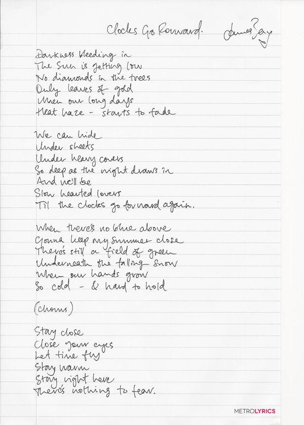 James Bay's Handwritten Lyrics to #ClocksGoForward
