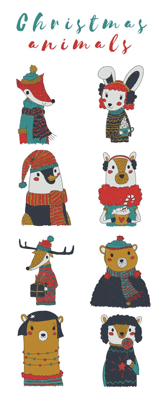 Kiddie Vector Christmas Animals Set Christmas Animals Christmas Vectors Woodland Illustration