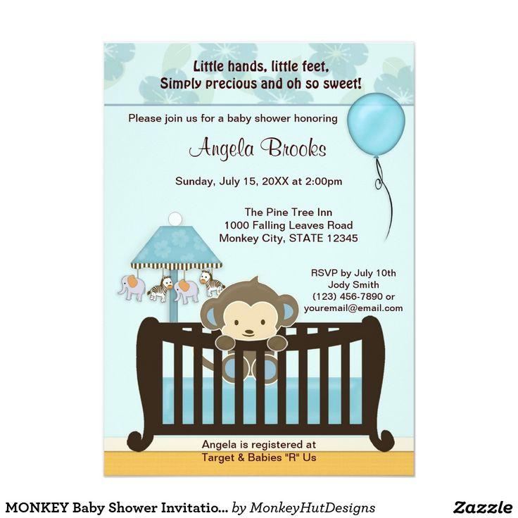 monkey baby shower invitation crib cjblue boy