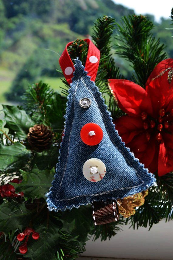 Denim Christmas Tree Ornaments