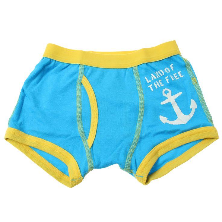 BOY'S ANCHOR BOXER PANTS - Ocean Blue + Yellow