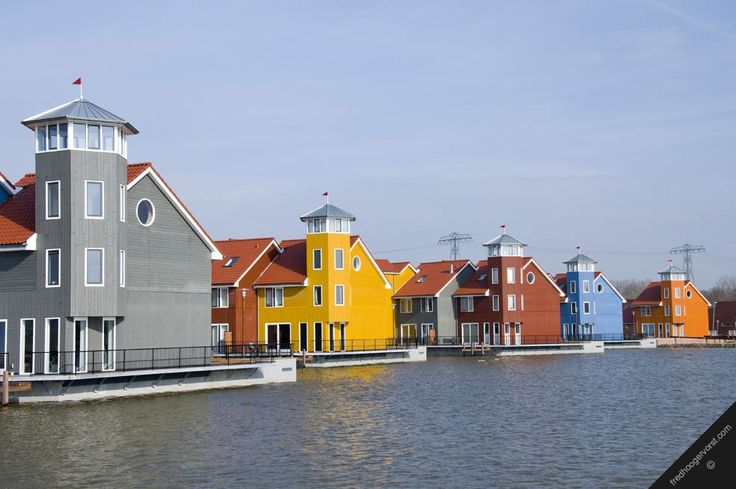 holland dutch urban floating houses netherlands groningen town living close artificial lake housing