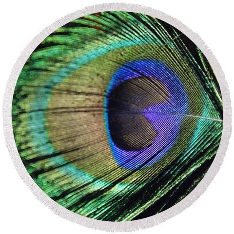 Peacock Feather - Round Beach Towel