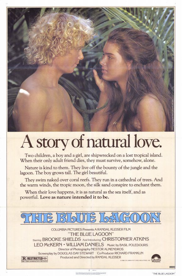 The Blue Lagoon , starring Brooke Shields, Christopher Atkins, Leo McKern, William Daniels. In the Victorian period, two children are shipwrecked on a tropical island in the South Pacific. With no adults to guide them, the two make a simple life together, unaware that sexual maturity will eventually intervene. #Adventure #Drama #Romance
