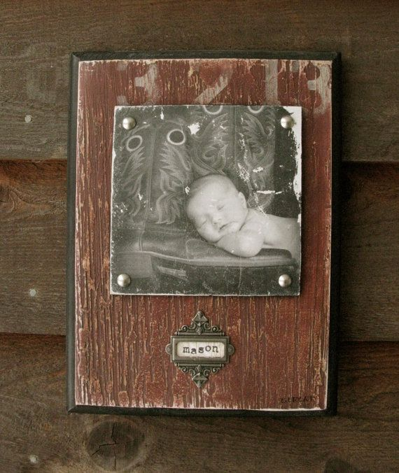 Personalized Faux Barnwood, Red Handpainted Photo Plaque from your photo, baptism gift, new baby gift, 9 x 12 nursery art