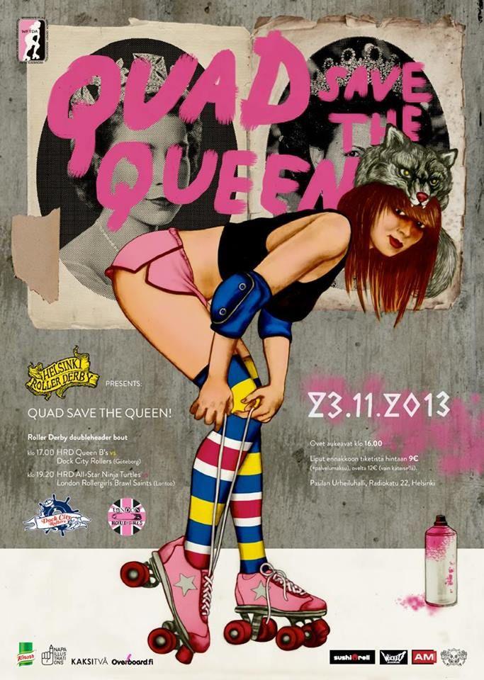 Illustration by Pauliina Mäkelä for Helsinki Roller Derby Poster, 2013