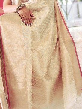 Cream Handwoven Kota Tissue Saree with Real Zari by Vidhi Singhania