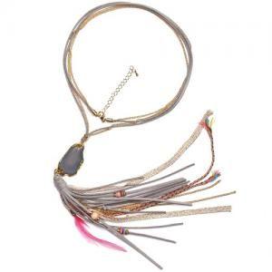 Grijze halsketting met steen en lange franjes www.deoorbel.nl