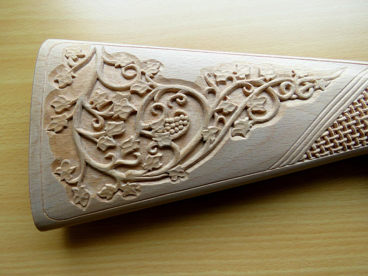 Hand carved Shotgun Stock by Juris Rudzitis