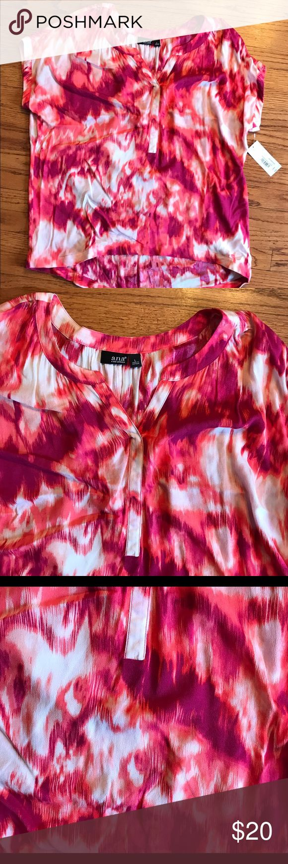 NWT Ana fuchsia and white short sleeve top - L NWT Ana fuchsia and white short sleeve top - L- slight hi lo- Tops Blouses