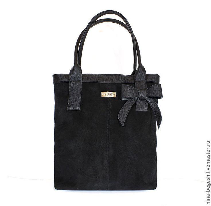 """Купить Сумка кожаная """"Бант"""", черная замша - чёрный, черная сумка, сумка, сумка купить"""