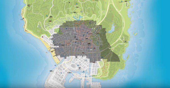 GTA V's Map Compared With The Division's New York