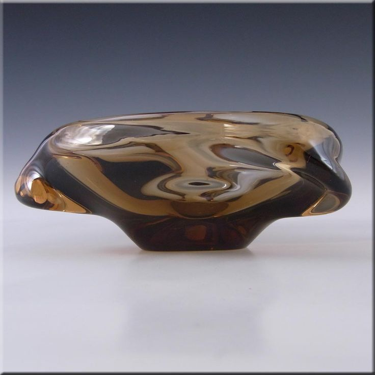 Skrdlovice Czech Smokey Amber Glass Sculpture Bowl - £22.49