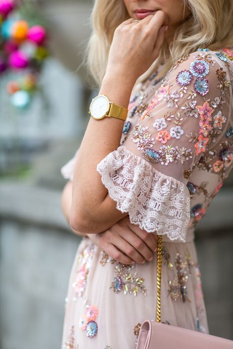 Prettiest Tea Dress With Beautiful Embroidered Flowers