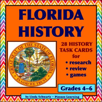 Florida History Task Cards  Grades 46 28 Quiz Questions for test prep, research, and games Florida History  is a set of 28 Quiz Task Cards  pertaining to facts about Floridas history. The questions are challenging and ideal for putting research skills to work.