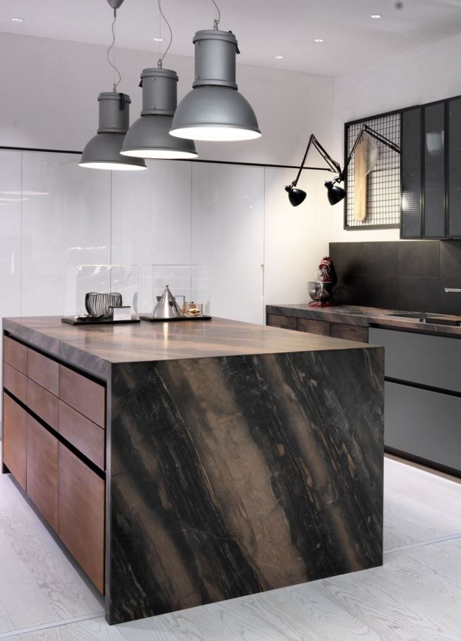Factory kitchen with island by aster cucine design for Aster cucine kitchen cabinets