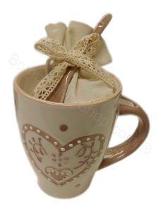 Tazza Caffè Latte in Ceramica Cuore Confezionata