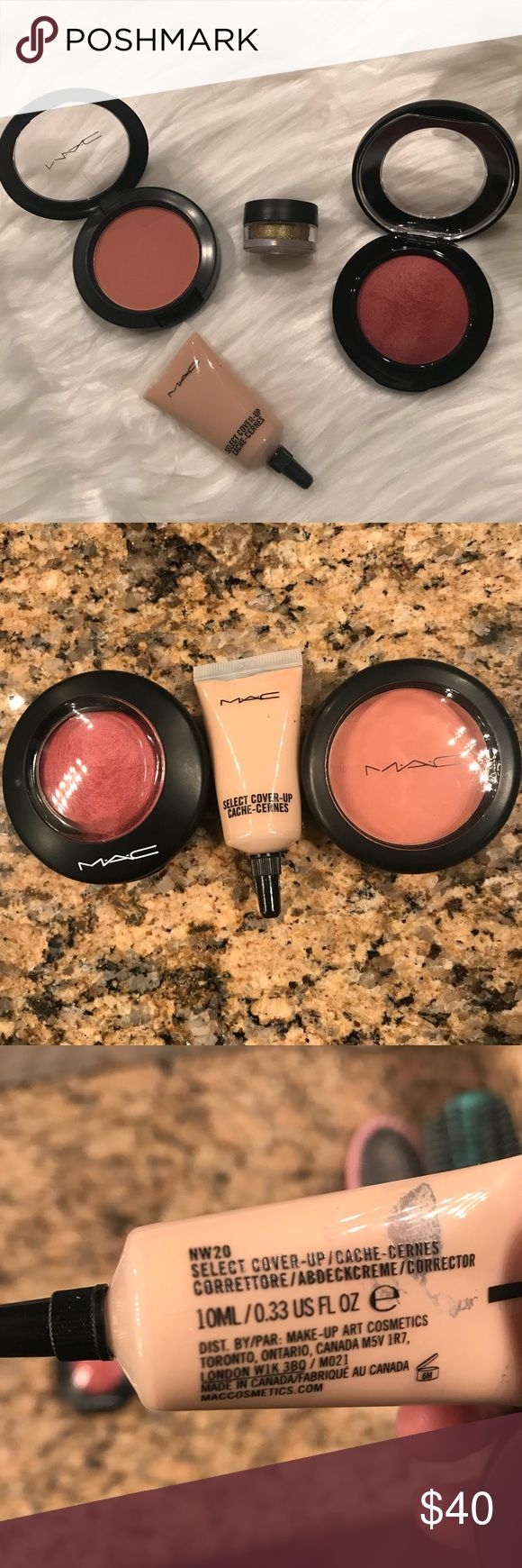 MAC Cosmetics Bundle! Swatched! I've had my makeup done at MAC a few times and they make you purchase things...so here we are lol. Included is: Melba Matte Powder Blush, Gleeful Mineralized Blush, NW20 Select Cover-Up, and as an added bonus MAC professional grade loose gold glitter. No trades, Posh transactions only, no low balls please! MAC Cosmetics Makeup Blush