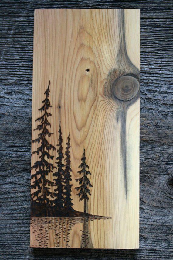 Au bord du lac bois gravure Art paysage