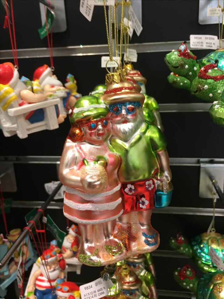 Santa and Mrs Claus beach style Christmas decoration.