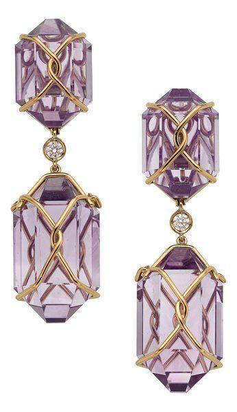 Estate Jewelry:Earrings, Amethyst, Diamond, Gold Earrings, Verdura . ... (Total…