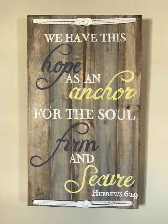 Nautical Hebrews 6:19 handpainted pine board sign