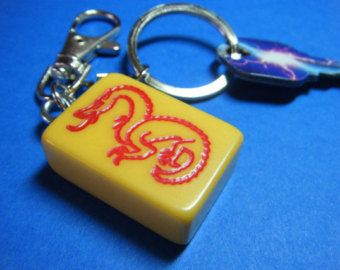 Vintage Red Dragon Bakelite Mahjong Tile with Steel Swivel Keychain and Steel Clip Clasp